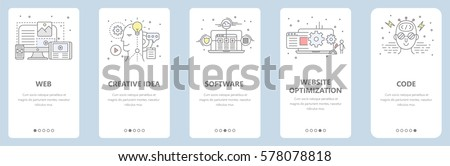 Vector set of vertical banners with web, creative idea, software, website optimization, code concept elements. Thin line flat design symbols, icons for website menu, printing.