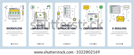 Vector set of vertical banners with Workflow, Video marketing, Mobile application, Development, E-mailing website templates. Modern thin line flat style design.