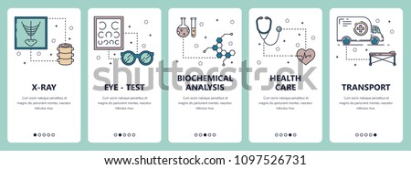 Vector set of vertical banners with X-ray, Eye-test, Biochemical analysis, Health care, Transport website and mobile app templates. Modern thin line flat style design.