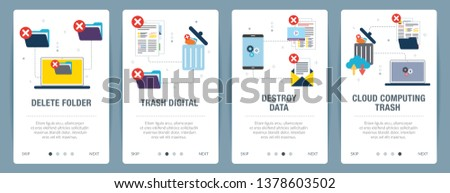 Vector set of vertical web banners with delete folder, trash digital, destroy data and cloud computing trash. Vector banner template for website and mobile app development with icon set.