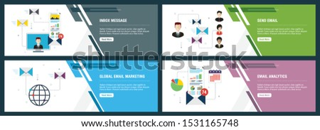 Vector set of vertical web banners with inbox message, send email, global email marketing and email analytics. Vector banner template for website and mobile app development with icon set.