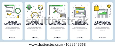 Vector set of vertical website banners. Search optimization and speed, page, website and e-commerce optimization web templates. Modern thin line flat style design.