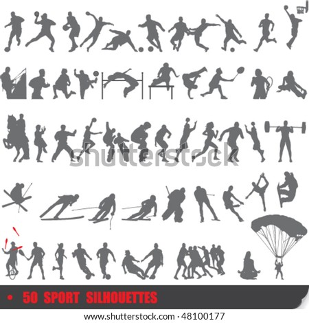 Vector set of 50 very detailed extreme sport silhouettes