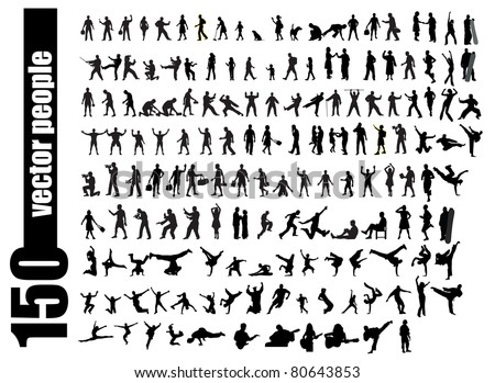 Vector set of 150 very detailed people