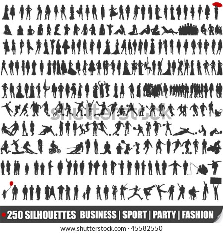 Vector set of 250 very detailed silhouettes