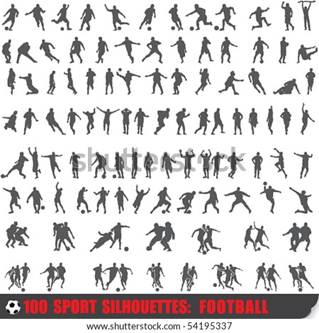 Vector set of 100 very detailed soccer silhouettes