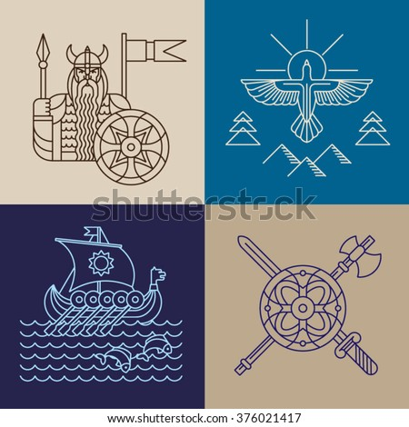 vector set of viking icons in