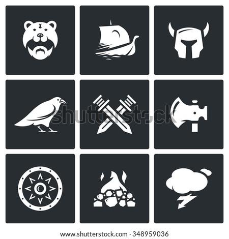 vector set of viking icons
