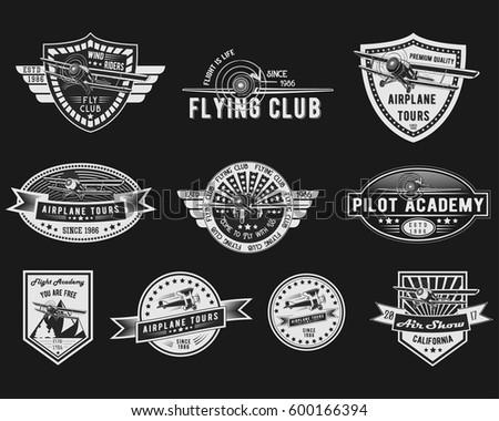 vector set of vintage aviation...