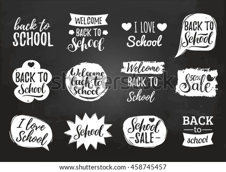 Vector set of vintage Back to School in comic speech bubbles on chalkboard. Educational logos collection with hand lettering. Knowledge day design concepts.