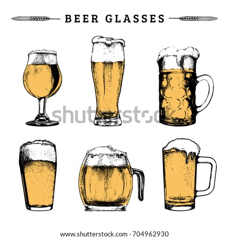 Vector set of vintage beer glasses. Lager, ale hand drawn symbols, signs. Vintage hand sketched mugs collection for brewery label or badge, drink menu.