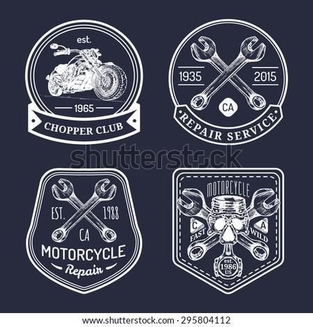 vector set of vintage bikers