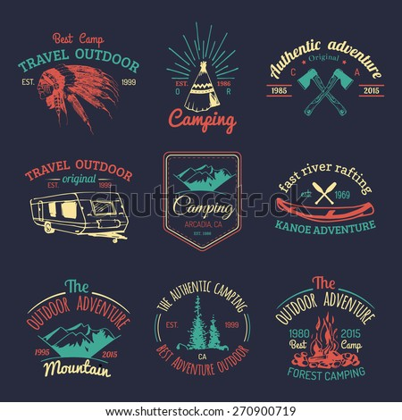 Vector set of vintage camping logo. Retro logotypes collection of outdoor adventures with Indian elements