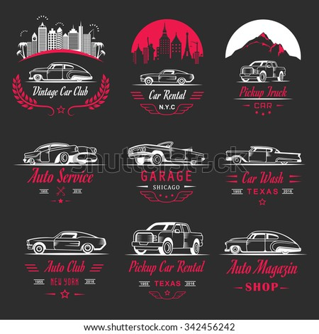vector set of vintage car