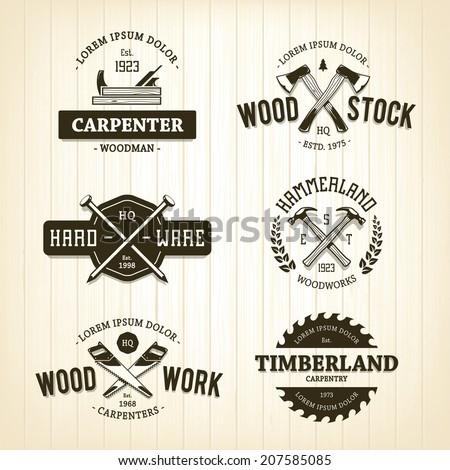vector set of vintage carpentry