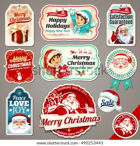vector set of vintage christmas