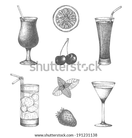 vector set of vintage cocktails