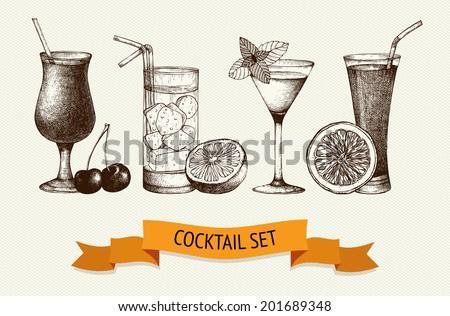 vector set of vintage cocktails