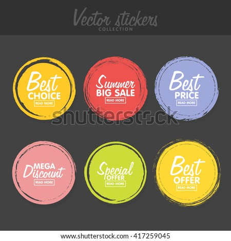 Vector set of vintage colorful  labels for greetings and promotion. Premium Quality Guarantee, Bestseller, Best Choice, Sale, Special Offer. Banners and sticker. Retro painting design.  #417259045