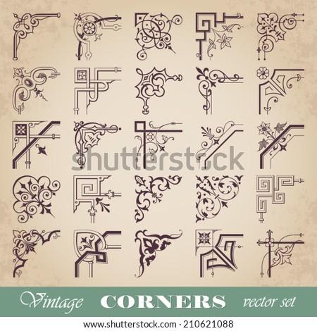 Vector set of vintage corners