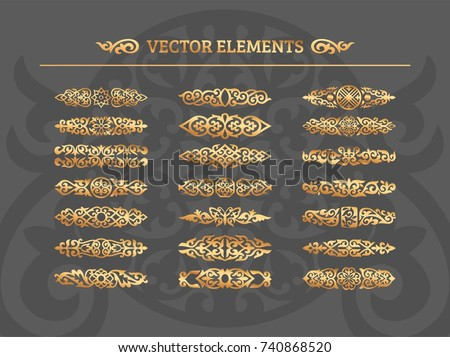 Vector set of vintage design elements. Calligraphic design elements and page decoration. Ornamental patterns for wedding invitations, birthday and greeting cards. Traditional golden decor.
