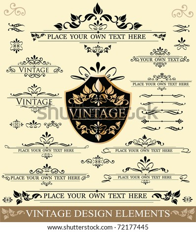 Vector Set of Vintage Design Elements:  ornaments,frames and dividers