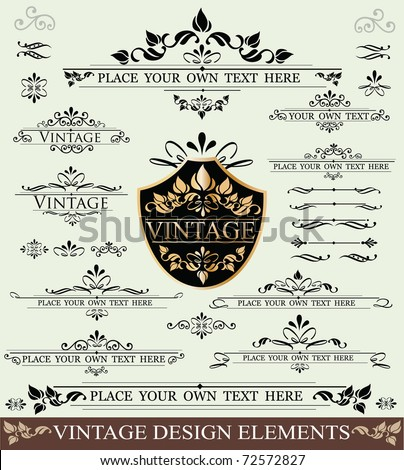 Vector Set of Vintage Design Elements ornaments frames and dividers