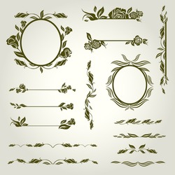 Vector set of vintage design elements with flowers (from my big