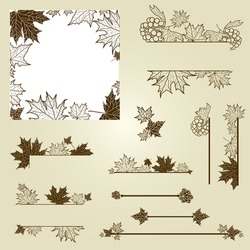 Vector set of vintage design elements with leafs (from my big