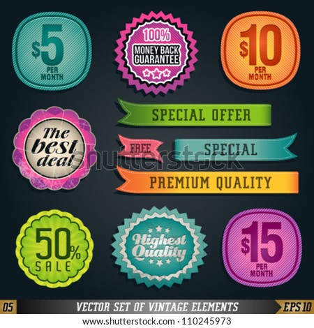 Vector Set of Vintage Elements and Labels. Graphic Design Editable For Your Design.