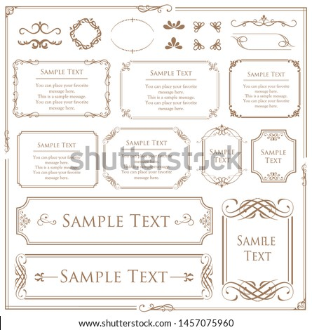 Vector set of vintage elements for design. Ornamental frames, borders, dividers, banners, arrows, monogram, corners, square, template for logo. Pear and flower vignette. Premium gold style #1457075960