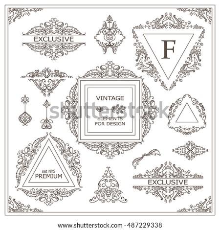 vector set of vintage elements