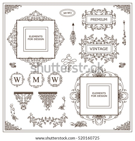 Vector set of vintage elements for design. Ornamental frames, borders, dividers, banners, arrows, monogram, corners, square, template for logo. Pear and flower vignette. Different element in every set