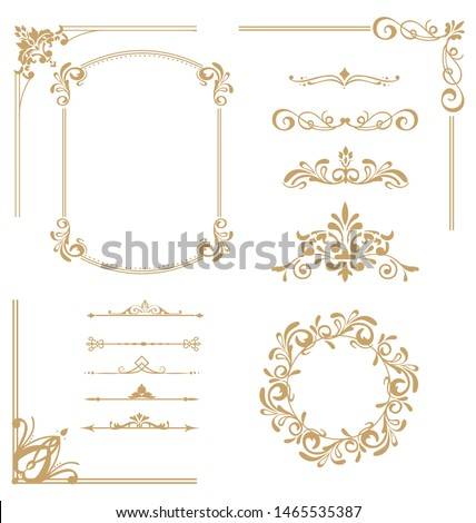 Vector set of vintage elements. Frames, dividers for your design. Golden Components in royal style. Elements for design menus, websites, certificates, boutiques, salons, etc.