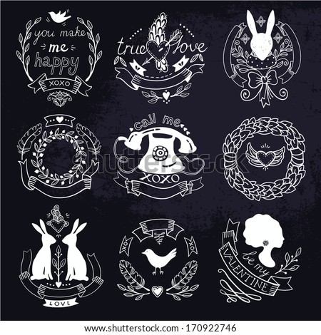vector set of vintage emblems for Valentine day
