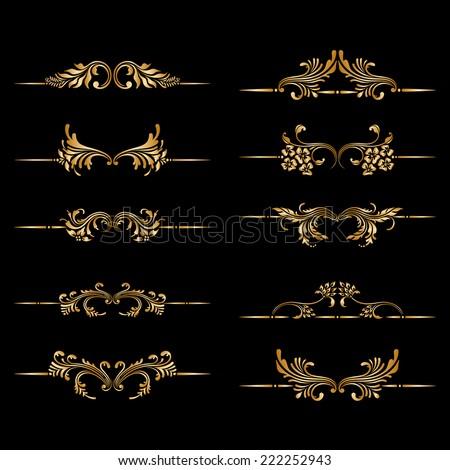Vector set of vintage floral decorative elements for design print embroidery