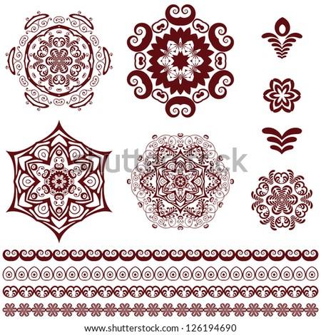 vector set of vintage floral design elements