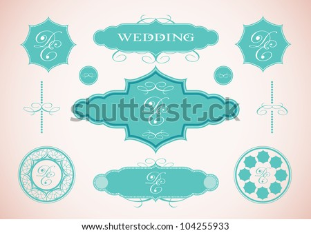 Vector set of vintage framed labels 0003 - stock vector