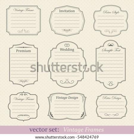Vector set of vintage frames