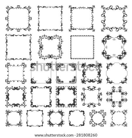 Vector set of vintage frames. Ornate page decorations isolated on white background. There are places for text.
