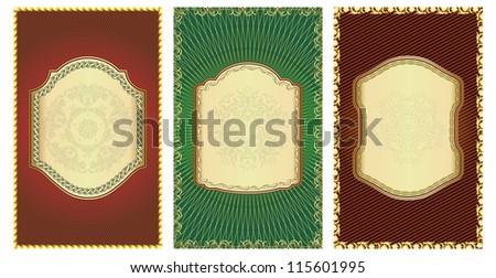 Vector set of vintage gold-framed labels.