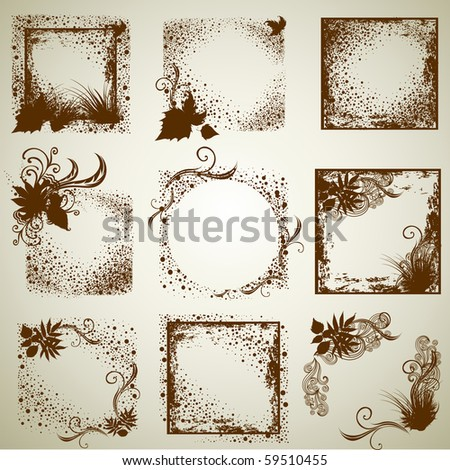 """Vector set of vintage grunge frames with Autumn Leafs. Thanksgiving (from my big """"Natural collection"""")"""