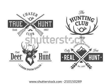vector set of vintage hunting