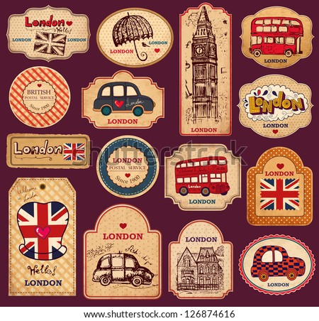 vector set of vintage labels...