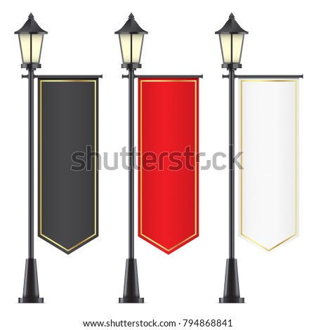 Vector set of vintage lamposts, with black, red and white advertising flags, isolated on backgorund. Mockups of vertical gothic flags, with golden elements, hanging on street lights.