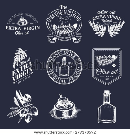 vector set of vintage olive oil