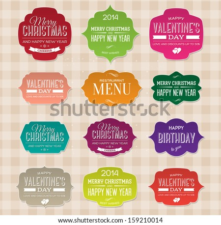 vector set of vintage paper labels for christmas birthday valentines day restaurant menu
