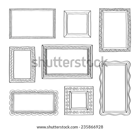 Vector set of vintage photo frames, hand drawn doodle style, antique ornamental and cute photo frames for decoration and design #235866928