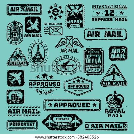 vector set of vintage postage...
