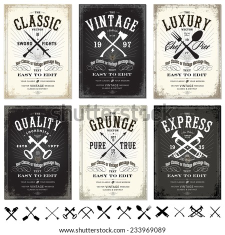 vector set of vintage posters